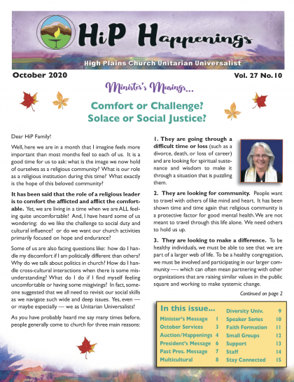 October Newsletter 1st page